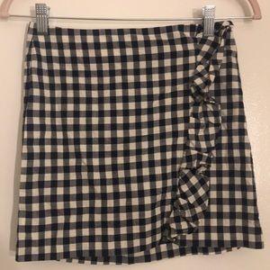 Navy and white checkered skirt